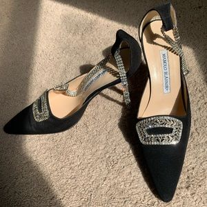 Manolo Blahnik Crystal Buckle Pointed Heels